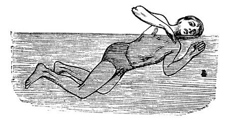 thrusting: Thrusting, vintage engraved illustration. Trousset encyclopedia (1886 - 1891).