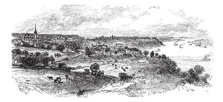 mississippi river: Natchez in Mississippi, USA, vintage engraved illustration. Trousset encyclopedia (1886 - 1891). Illustration