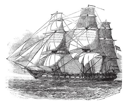 USS Constitution, cosecha ilustración grabada. Enciclopedia Trousset (1886 - 1891). Ilustración de vector