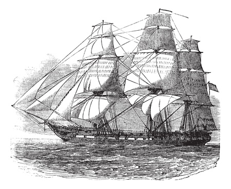 ancient ships: USS Constitution, vintage engraved illustration. Trousset encyclopedia (1886 - 1891).