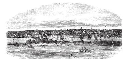 bristol: New Bedford in Massachusetts, USA, vintage engraved illustration. Trousset encyclopedia (1886 - 1891). Illustration