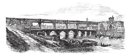 pons: Newcastle upon Tyne in England, UK, vintage engraved illustration. Trousset encyclopedia (1886 - 1891).