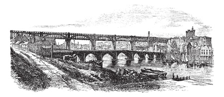 Newcastle upon Tyne in England, UK, vintage engraved illustration. Trousset encyclopedia (1886 - 1891).