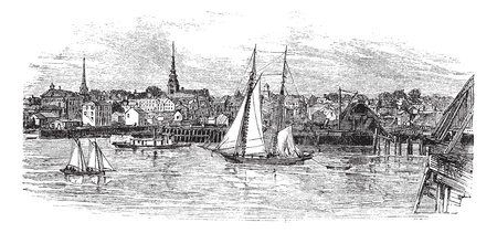 plum island: Newburyport in Massachusetts, USA, vintage engraved illustration. Trousset encyclopedia (1886 - 1891).