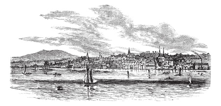 hudson river: Newburgh, in Orange County, New York, USA, vintage engraved illustration. Trousset encyclopedia (1886 - 1891). Illustration