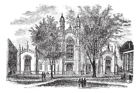 Yale University Library, in New Haven, Connecticut, USA, vintage engraved illustration. Trousset encyclopedia (1886 - 1891).