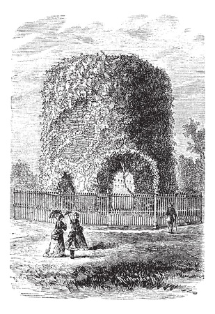island state: Newport Tower or Round Tower or Touro Tower or Newport Stone Tower or Old Stone Mill, in Rhode Island, USA, vintage engraved illustration. Trousset encyclopedia (1886 - 1891).