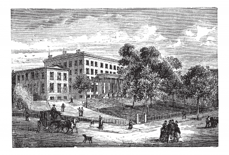 Columbia University in Manhattan, New York City, USA, vintage engraved illustration. Trousset encyclopedia (1886 - 1891). Vector