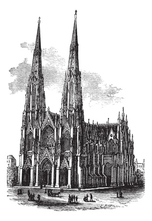 Saint Patricks Cathedral in Armagh, Ireland, vintage engraved illustration. Trousset encyclopedia (1886 - 1891). Vector