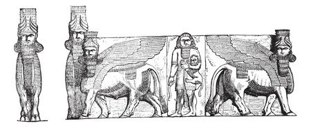 archaeological: Esculturas en relieve en la entrada del Palacio Kuyunjik Ruinas, en Mosul, Irak, cosecha ilustraci�n grabada. Enciclopedia Trousset (1886 - 1891).