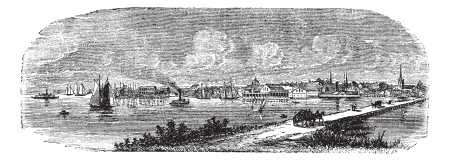 site: Norfolk in England, UK, vintage engraved illustration. Trousset encyclopedia (1886 - 1891).