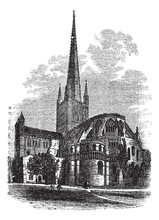 trinity: Norwich Cathedral in Norfolk, England, UK, vintage engraved illustration. Trousset encyclopedia (1886 - 1891).