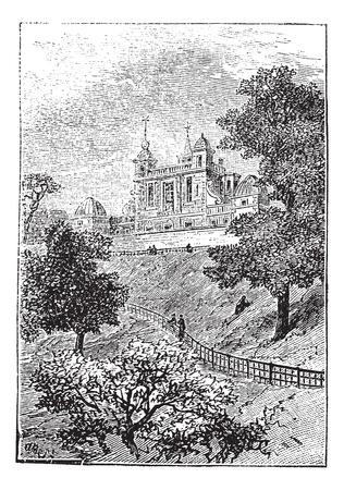 greenwich: Royal Observatory in Greenwich, London, England, UK, vintage engraved illustration. Trousset encyclopedia (1886 - 1891).