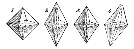 Octahedron, vintage engraved illustration. Trousset encyclopedia (1886 - 1891).