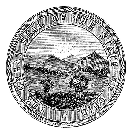 great seal: Seal of the State of Ohio, vintage engraved illustration. Trousset encyclopedia (1886 - 1891). Illustration