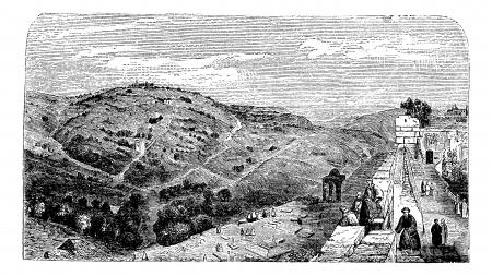 Mount of Olives, seen from the valley of Jerusalem, vintage engraved illustration. Trousset encyclopedia (1886 - 1891).