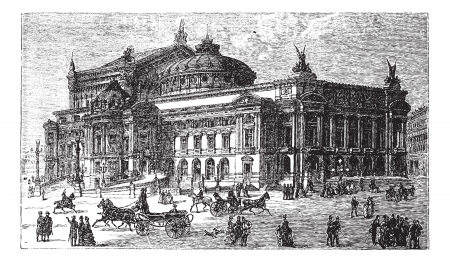 The new opera in Paris, France, late 1800s, vintage engraved illustration. Trousset encyclopedia (1886 - 1891).