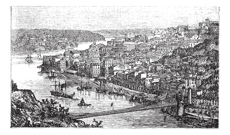 Oporto City, Portugal, vintage engraved illustration, in the late 1800s.  Trousset encyclopedia (1886 - 1891). 矢量图像