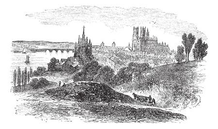 Cityscaoe of Orleans city, France, vintage engraved illustration. Trousset encyclopedia (1886 - 1891).