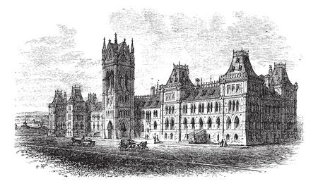 parliament: House of Parliament, Ottawa, Ontario, Canada, vintage engraved illustration. Trousset encyclopedia (1886 - 1891). Illustration