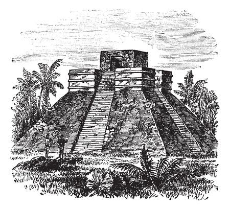 archaeological: Palenque Pir�mide Templo en M�xico, durante la d�cada de 1890, el grabado de la vendimia. Ilustraci�n del Antiguo grabado de Palenque templo de la pir�mide con los �rboles de alrededor.