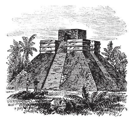 archaeology: Palenque Pyramid temple in Mexico, during the 1890s, vintage engraving. Old engraved illustration of Palenque Pyramid temple with trees around.
