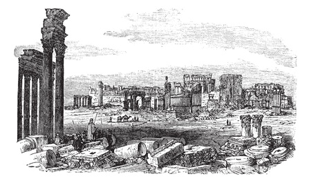 The ruins of Palmyra in Syria, during the 1890s, vintage engraving. Old engraved illustration of the ruins of Palmyra in Syria. Illustration