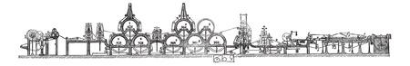 cinta transportadora: Máquina Fourdrinier, cosecha ilustración grabada. Enciclopedia Trousset (1886 - 1891). Vectores