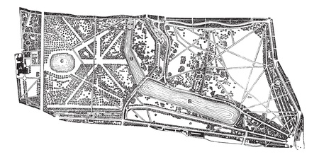 Hyde Park and Kensington Gardens, environs, during the 1890s, vintage engraving. Old engraved illustration of map of the Hyde Park and Kensington Gardens in London. Illustration