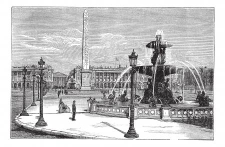 1890 년대, 포도 수확, 조각 동안 프랑스 파리에서 콩코드 광장 (Place de la Concorde). 오래 된 분수 주위 사람들을 실행하는 콩코드 광장 (Place de la Concorde)의