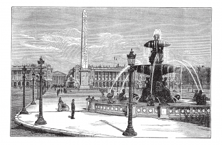 Place de la Concorde in Paris, France, during the 1890s, vintage engraving. Old engraved illustration of Place de la Concorde with running fountains and people around. Vector