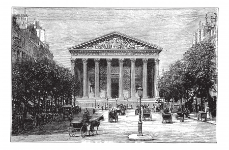rue: Madeleine Church and Rue Royale in Paris, France, during the 1890s, vintage engraving. Old engraved illustration of Madeleine Church and Rue Royale with running carts in front.