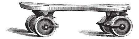 Patín de ruedas, añada una ilustración grabada. Enciclopedia Trousset (1886 - 1891).