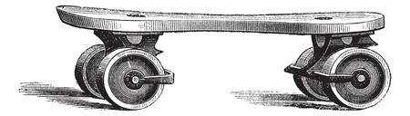 quad: Roller Skate, vintage engraved illustration. Trousset encyclopedia (1886 - 1891). Illustration