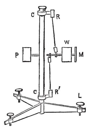 sismogr�fo: El p�ndulo horizontal, compuesto por un peso, un contrapeso, un espejo, una columna vertical, y tornillos, cosecha ilustraci�n grabada. Enciclopedia Trousset (1886 - 1891). Vectores