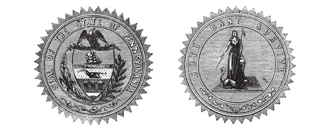 Seal of the State of Pennsylvania USA, vintage engraving. Old engraved illustration of Seal of the State of Pennsylvania with both sides, isolated on a white background. Stock Vector - 13771744
