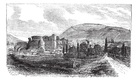archaeological: The ruins of Pergamon or Pergamum in Turkey, during the 1890s, vintage engraving. Old engraved illustration of the ruins of Pergamon.