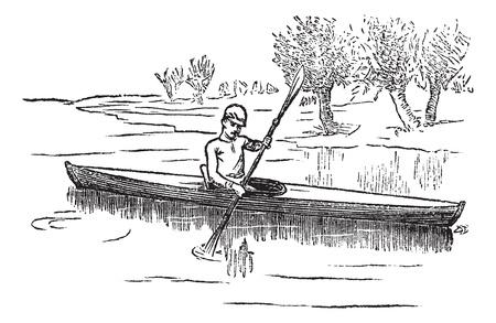 piragua: Canoa, canoa o canadiense, grabado de época. Ilustración del Antiguo grabado del hombre en canoa en el lago.