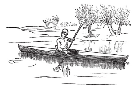canoe: Canoe or Canadian canoe, vintage engraving. Old engraved illustration of man canoeing in the lake.