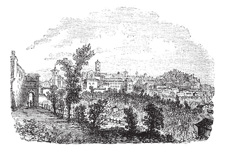 Perugia in Umbria, Italy, during the 1890s, vintage engraving. Old engraved illustration of Perugia with trees in front. Stock Vector - 13772326