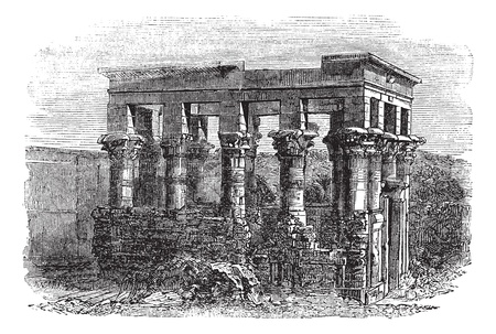 Temple of Isis at Philae, vintage engraved illustration. Exterior of Temple of Isis during late 1800s. Trousset encyclopedia (1886 - 1891). Stock Vector - 13772460