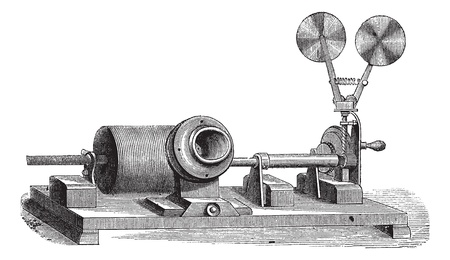 phonograph: A clockwork gramophone - c, cylinder, m, mouth, vintage engraved illustration. Old gramophone. Trousset encyclopedia (1886 - 1891).