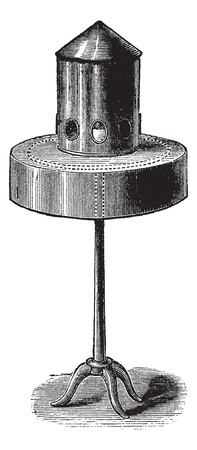 feeder: Pigeon bird feeder or bird feeder, vintage engraved illustration. Trousset encyclopedia (1886 - 1891).