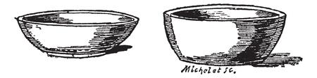 Pots for nests of pigeons, vintage engraved illustration.Trousset encyclopedia (1886 - 1891).