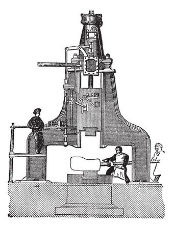 Steam hammer, vintage engraved illustration.Trousset encyclopedia (1886 - 1891).