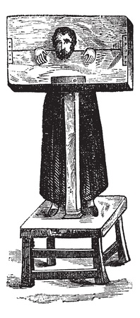 Pillory, after an ancient engraving, vintage engraved illustration. Trousset encyclopedia (1886 - 1891).
