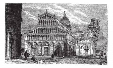 Leaning Tower, cathedral and baptistery of Pisa,vintage engraved illustration.Trousset encyclopedia (1886 - 1891). Vector