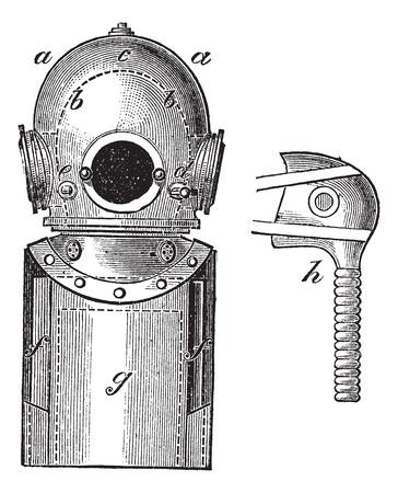 kammare: Utanpå levereras Dykutrustning, vintage graverad illustration. Trousset encyklopedin (1886-1891). Illustration