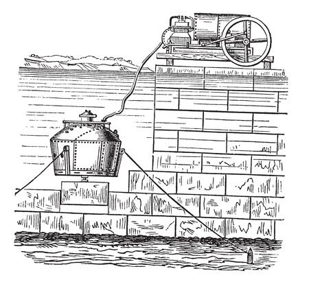 hooka: Nautilus Diving Chamber, vintage engraved illustration. Trousset encyclopedia (1886 - 1891). Illustration