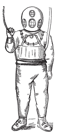 Diver in Surface-supplied Diving Equipment, vintage engraved illustration. Trousset encyclopedia (1886 - 1891). Vector